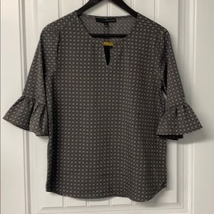Grey Patterned 3/4 Sleeve Blouse